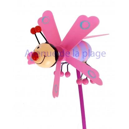 Moulin à vent abeille rose en bois 11 cm