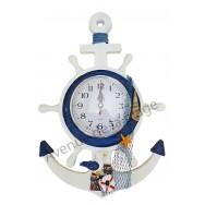 Pendule en bois ancre et roue à accrocher, décoration marine