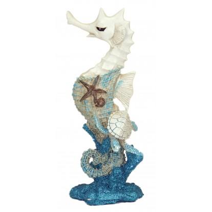 Statuette hippocampe turquoise 20 cm avec tortue