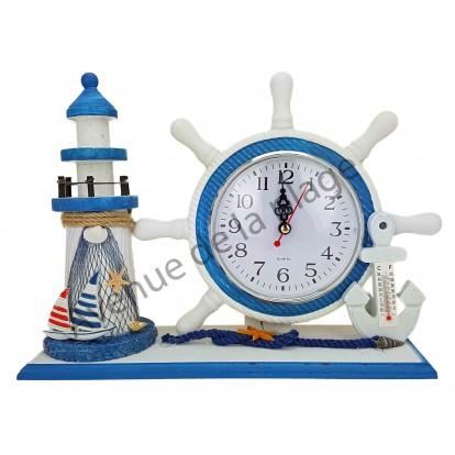 Horloge gouvernail et phare décoratif, modèle A.