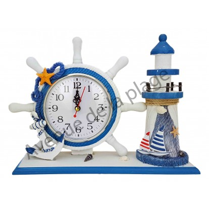 Horloge gouvernail et phare décoratif, modèle B.