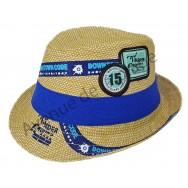 Chapeau borsalino stylisé bleu pour enfant.