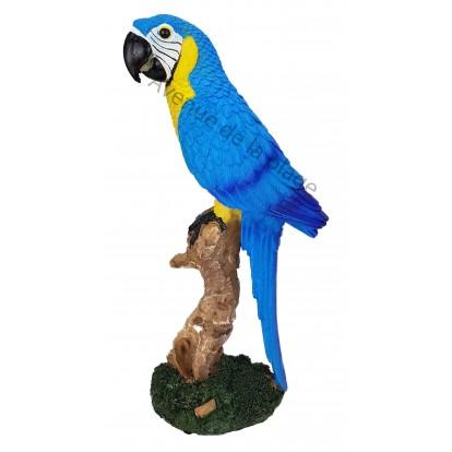 Statuette perroquet posé sur une branche 30 cm bleu