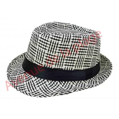 Chapeau Borsalino Paille quadrillé noir et blanc