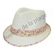 Chapeau borsalino bord et bande fleurie