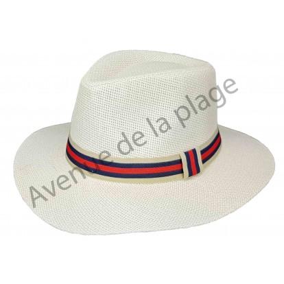 Chapeau style panama avec bande colorée