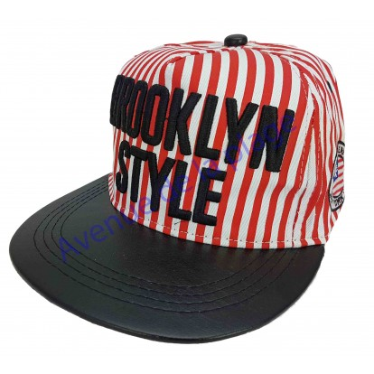 """Casquette snapback """"Brooklyn Style"""" rayér rouge et blanc."""