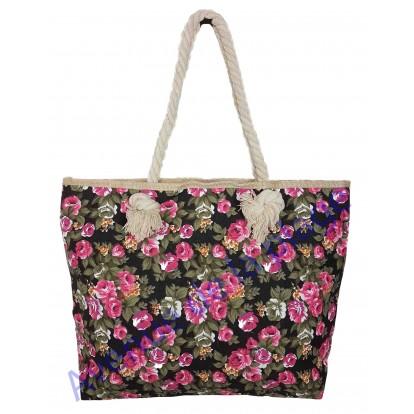 Sac de plage motif floral : la rose