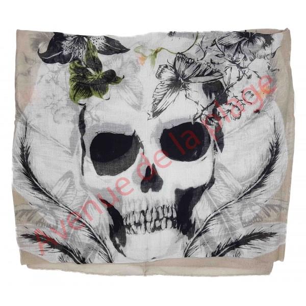 foulard t tes de mort et plumes cheche pas cher. Black Bedroom Furniture Sets. Home Design Ideas