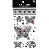 Tatouage décalcomanie éléphant et papillon Tattoo