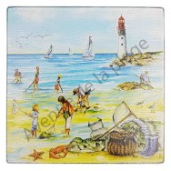 Dessous de plat carré : La pêche à pied