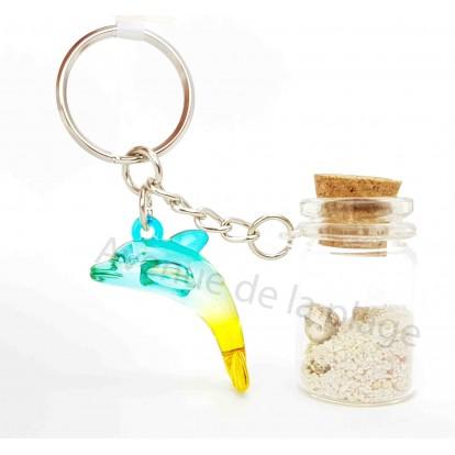 Porte clés bouteille de sable et dauphin, modèle A.