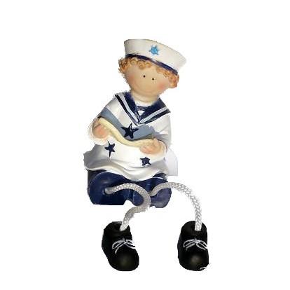 Enfant en habits marin 11 cm, le garçon avec un livre.