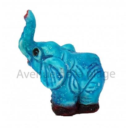 Sujet baromètre éléphant assis trompe en l'air bleu beau temps.