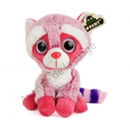 Peluche bébé Raton laveur rose aux yeux scintillants