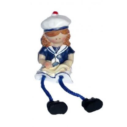 Figurine enfant en habits marins 7 cm : fille avec un livre