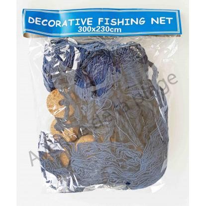 Filet de pêche décoratif bleu 230 x 300 cm avec flotteurs
