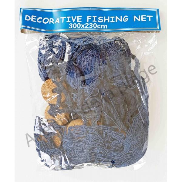 filet de p che d coratif bleu 230 x 300 cm avec flotteurs. Black Bedroom Furniture Sets. Home Design Ideas