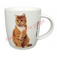 Mug chat roux et blanc assis