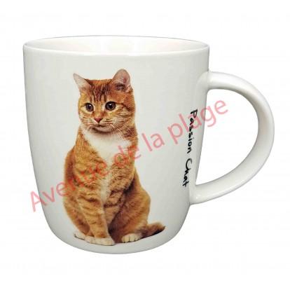Mug chat roux et blanc assis
