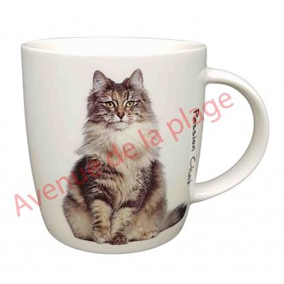 Mug chat gris assis