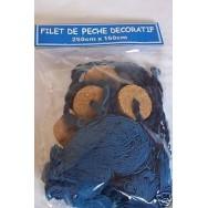 Filet de pêche bleu 150 x 250 cm + flotteurs