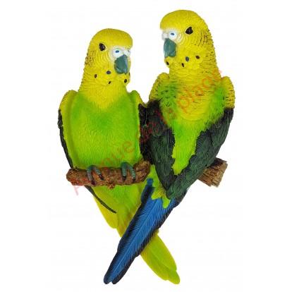 Couple de perruches vertes à accrocher 19 cm
