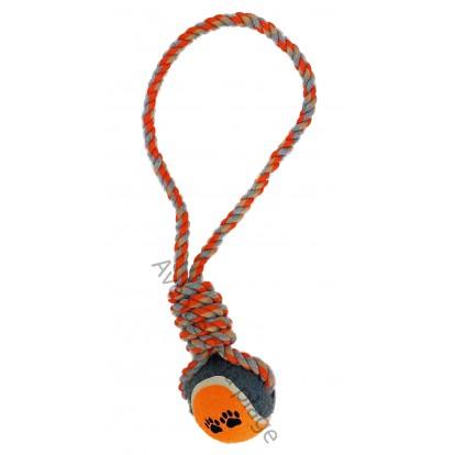 Balle de tennis avec corde orange pour chien.