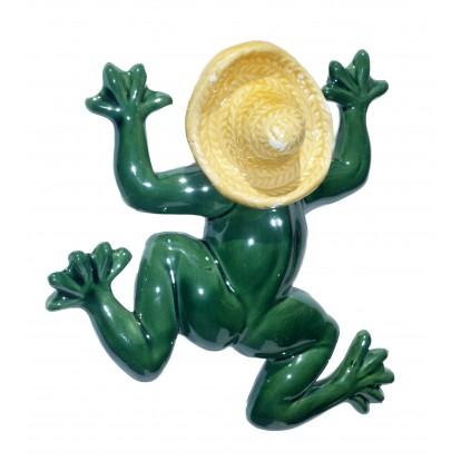 Grenouille 15 cm en céramique avec sombrero.