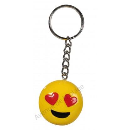 Porte clés émoticône amoureux