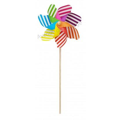 Moulin à vent fleur multicolore à rayures 20 cm.