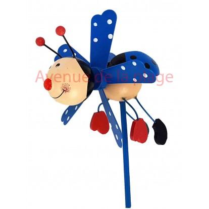 Moulin à vent décoratif coccinelle bleue en bois 9 cm.