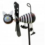 Moulin à vent chat noir et blanc en bois 7.5 cm