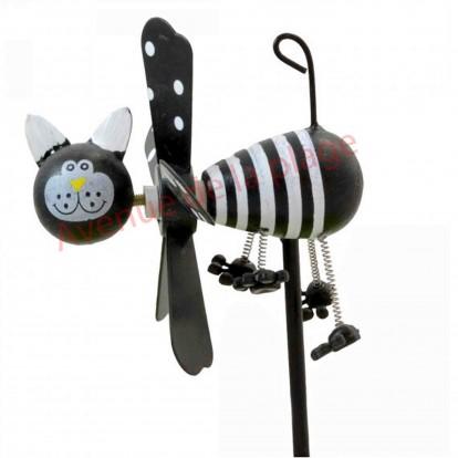Moulin à vent chat noir et blanc en bois 9 cm