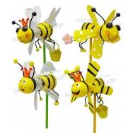 Moulin à vent décoratif abeille en bois 11 cm
