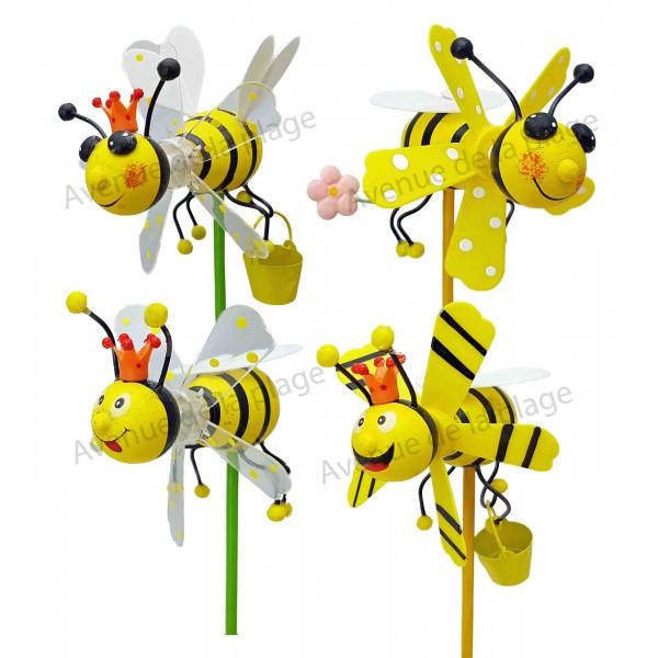 moulin vent d coratif abeille en bois 11 cm. Black Bedroom Furniture Sets. Home Design Ideas