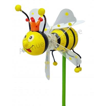 Moulin à vent abeille déco en bois 7.5 cm modèle K.