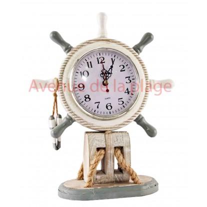 Horloge gouvernail de bateau grise et blanche