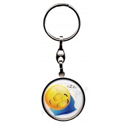 Porte clés métal émoticône dormeur