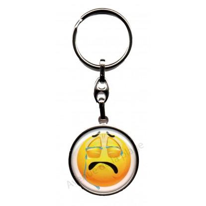 Porte clés métal émoticône triste