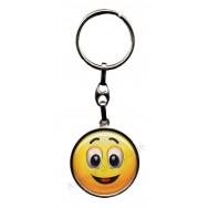 Porte clés métal émoticône content