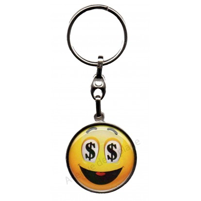 Porte clés métal émoticône dollars