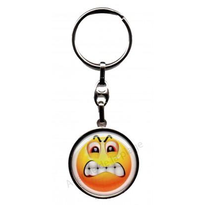 Porte clés métal émoticône en colère