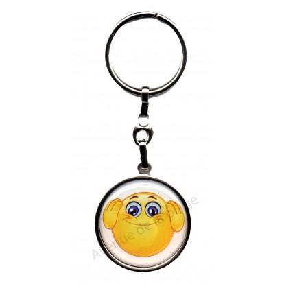 Porte clés métal émoticône n'entend pas