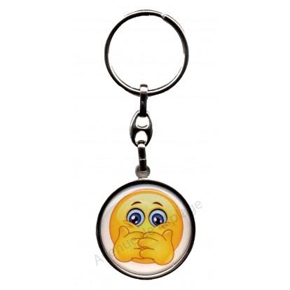 Porte clés métal émoticône ne dit rien