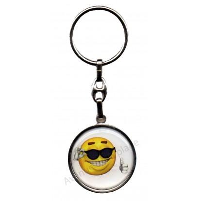 Porte clés métal émoticône frimeur