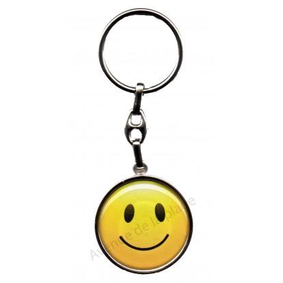 Porte clés métal émoticône sourire