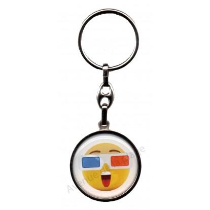 Porte clés métal émoticône drapeau français