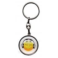 Porte clés métal émoticône casque audio