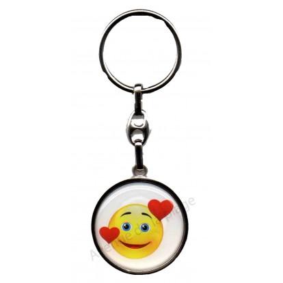 Porte clés métal émoticône coeur